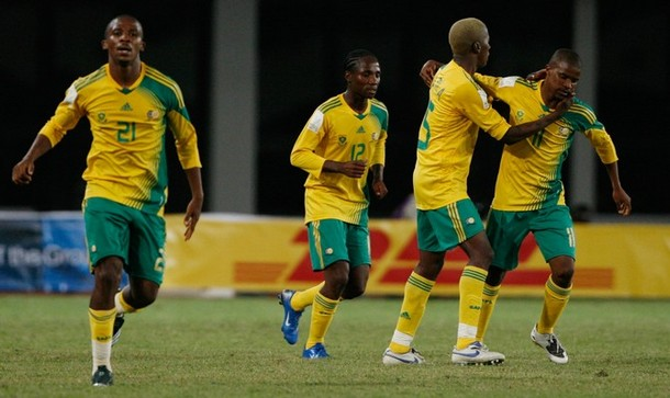 South Africa's Heerden celebrates his equalising goal against Angola with his team mates during their African Nations Cup soccer tournament match in Tamale