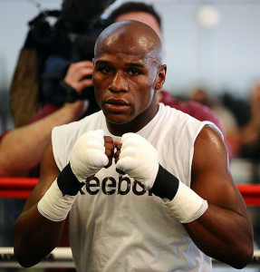 "Floyd ""Money"" Mayweather Jr. works out during a Labor Day themed open media workout at his boxing gym in Las Vegas as he prepares for his September 19 fight against Juan Manuel ""Dinamita"" Marquez at MGM Grand and televised live on HBO Pay-Per-View. Las V"
