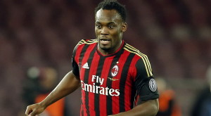 AC Milan's Essien controls the ball during their Italian Serie A soccer match against Napoli in Naples