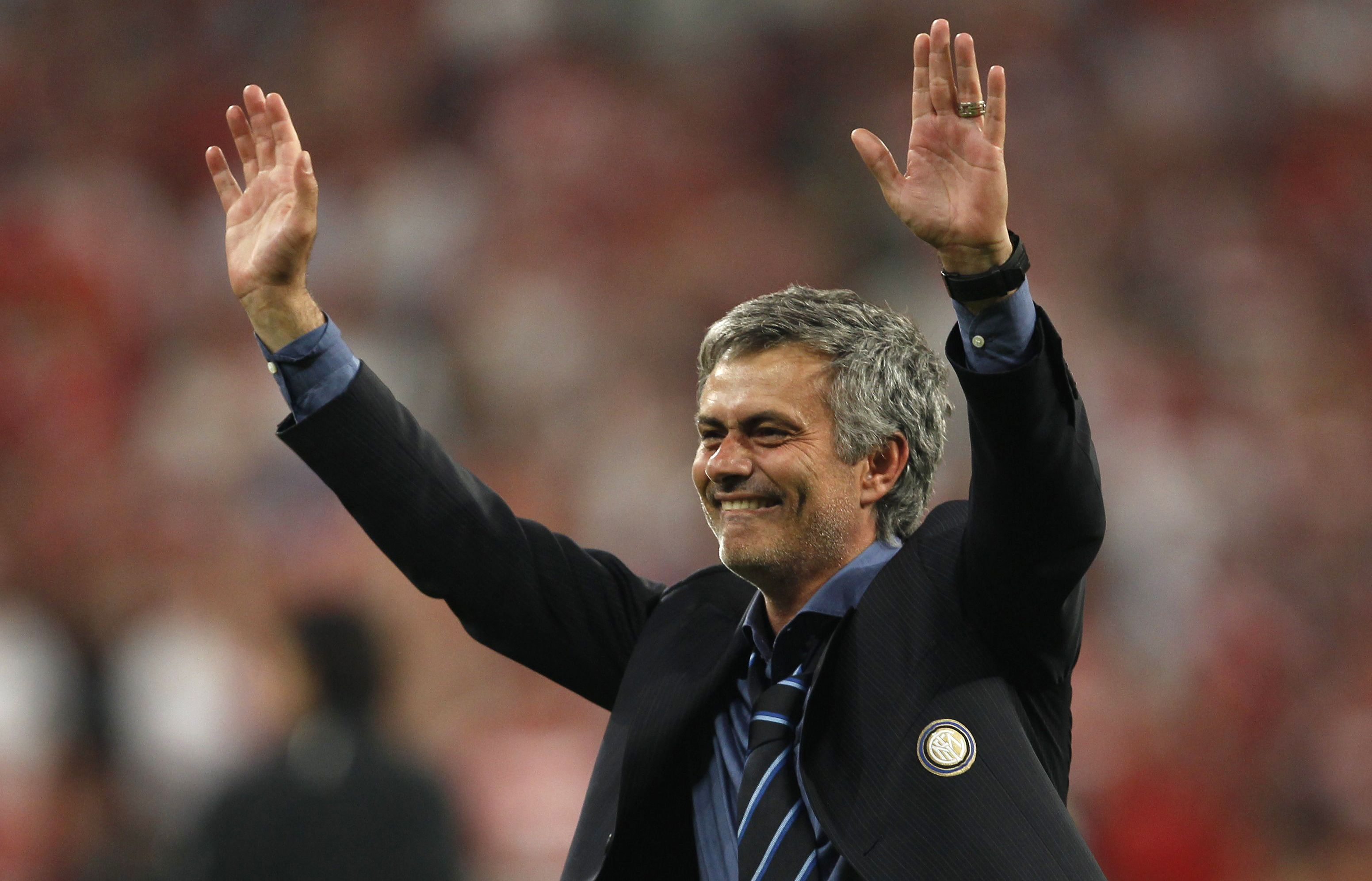 Inter Milan's manager Mourinho celebrates after their Champions League final soccer match victory  against Bayern Munich in Madrid