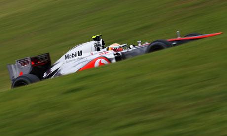 Lewis Hamilton of McLaren en route to pole position at the Brazilian F1 Grand Prix at Interlagos