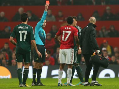 Nani-RedCard-Getty