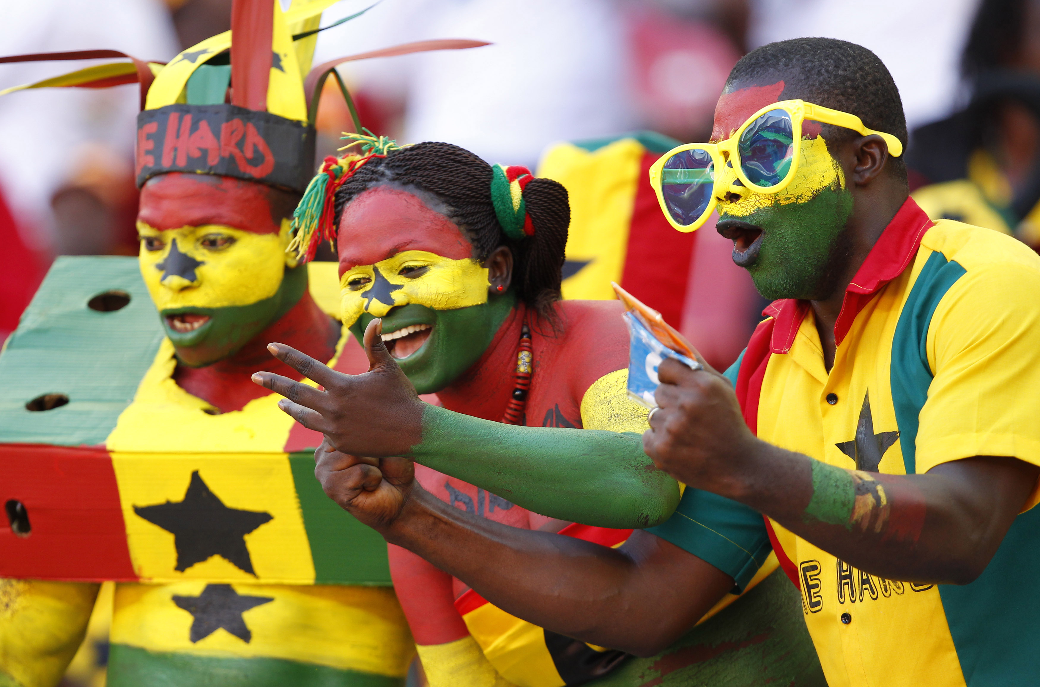 Ghana fans cheer their team during their African Nations Cup Group B soccer match against Mali at the Nelson Mandela Bay Stadium in Port Elizabet