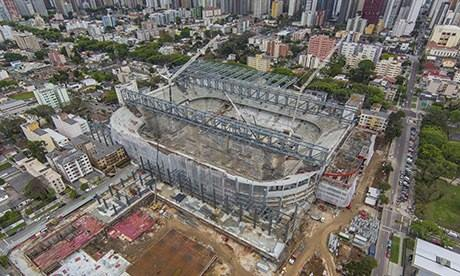 An aerial view of the Arena da Baixada stadium in Curitiba, taken in October