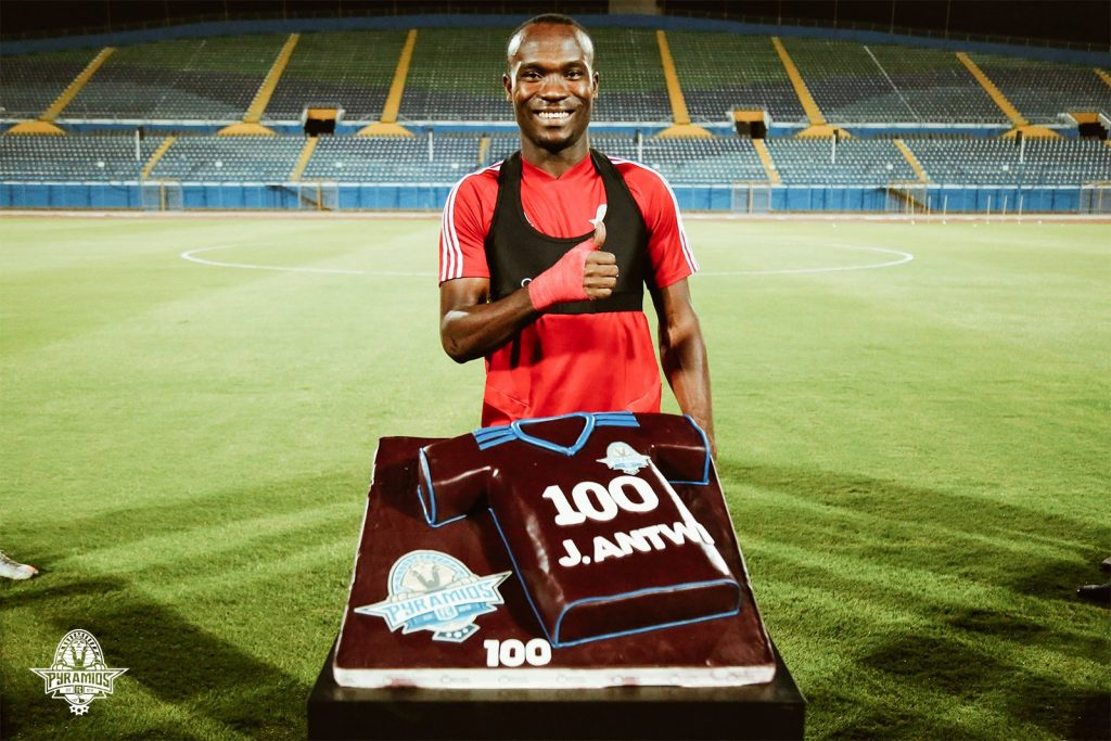 Antwi was presented this gift by Pyramids during Sunday training session.
