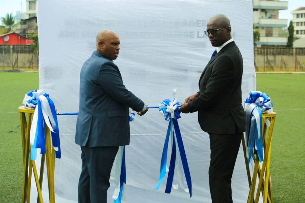 The president of Tanzania FA Wallace Karia (left) and Burundian one Reverien Ndikuriye launching the seminar.