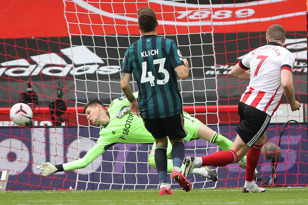 A picture of of Illan Meslier's save on Lundstram's strike during first half of Sheffield vs Leeds. Credit : BBC