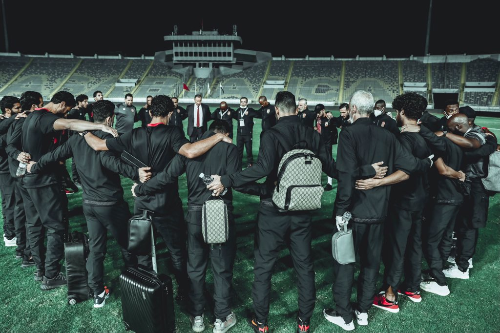 Pitso Mosimane and Al Ahly squad before second leg game against Wydad. Credits : Al Ahly