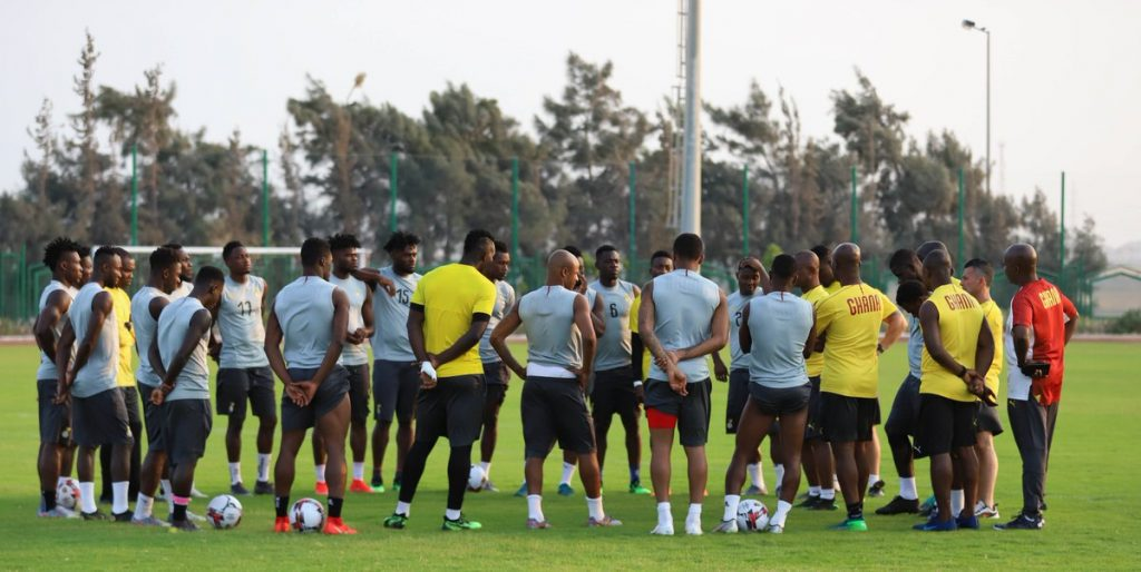 Black Stars squad in Tuesday's training session ahead of Mali clash on Friday. Credit GFA.