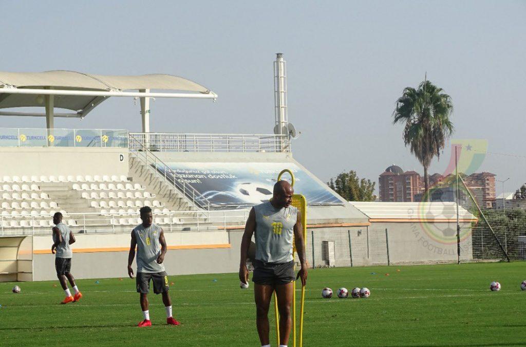 Swansea City striker Andre Ayew during Black Stars training session. Credit : GFA