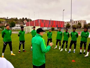 Super Eagles coach Gernot Rohr addresses the players during Tuesday morning training