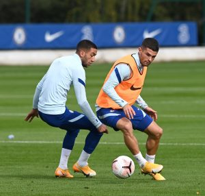 Hakim Ziyech and Christian Pulisic trains ahead of Southampton game in Cobham