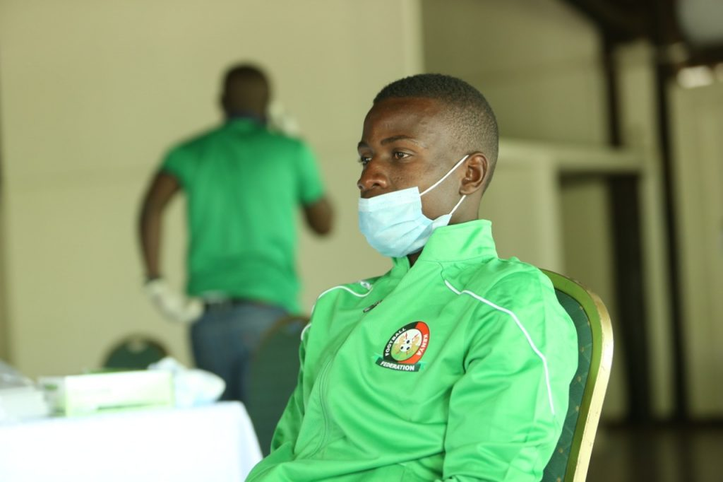 A picture of local Harambee Stars during the PCR tests.