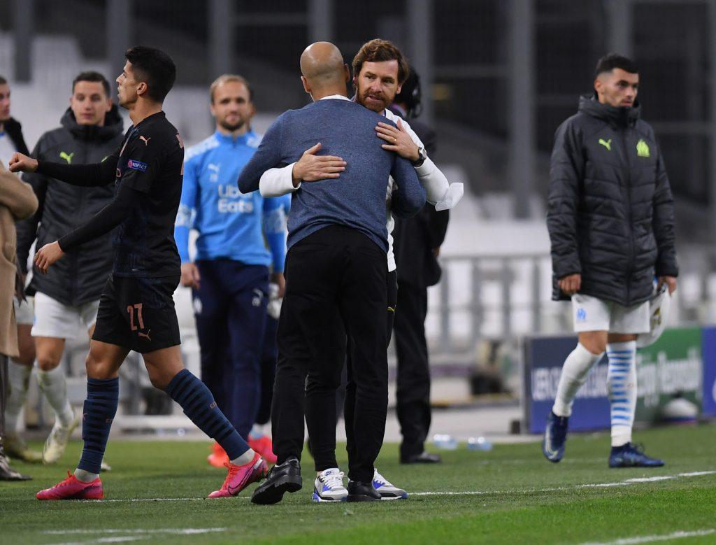 Man City boss Pep Guardiola and Marseille one Andre Villas-Boas.