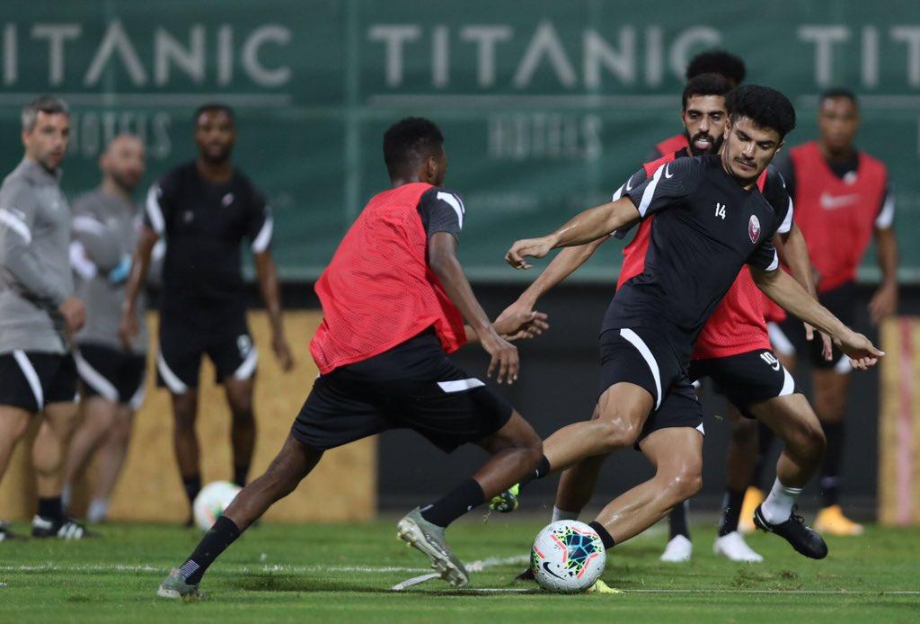 Qatar players in training ahead of their friendly against Ghana's Black Stars. Credits / QFA