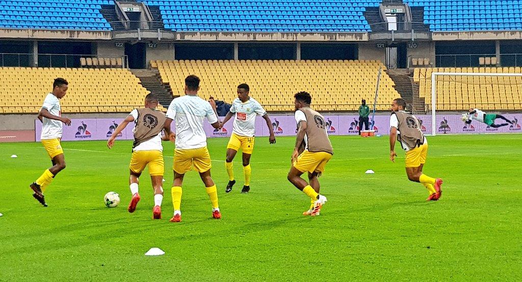 Molefi Ntseki's men warming up. Credit Bafana Bafana