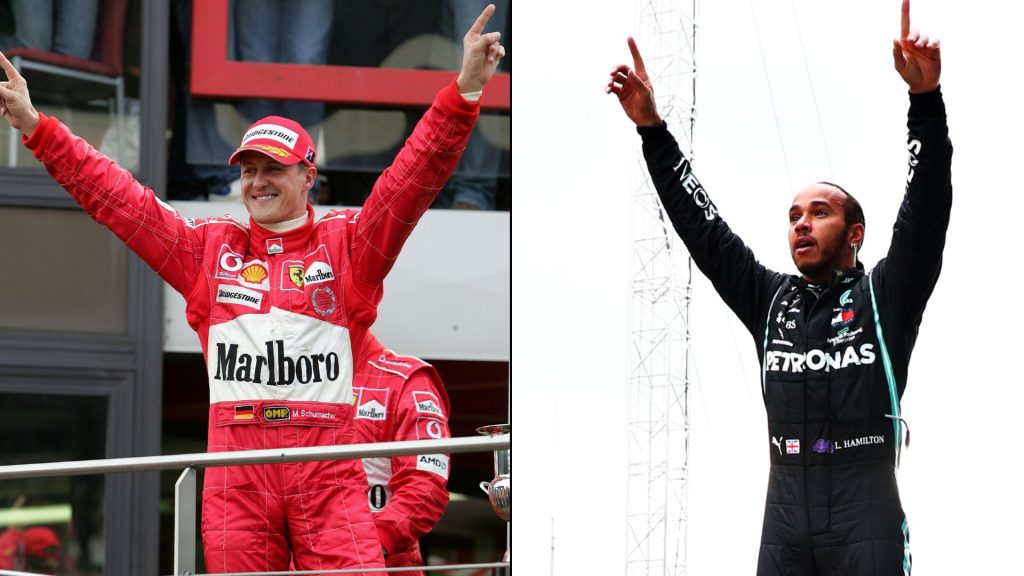 Legendary driver Michael Schumacher (left) and Lewis Hamilton (right).