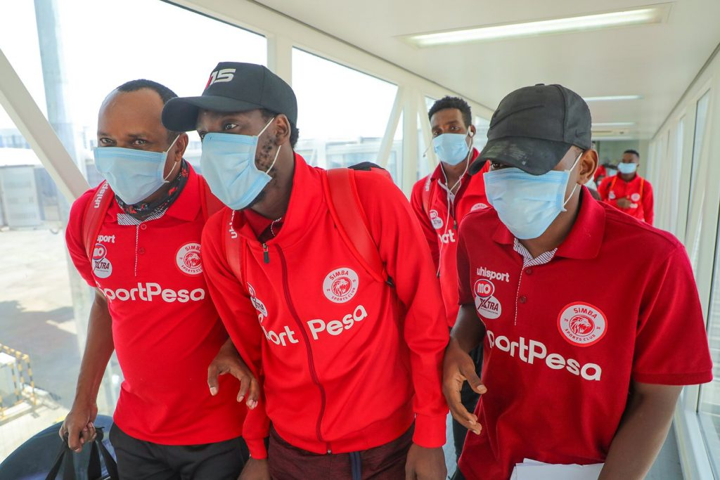 Simba SC players at their arrival in Abuja.