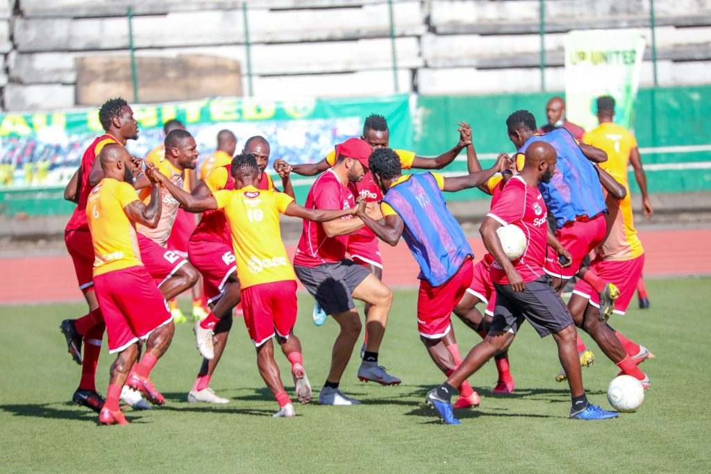 Simba SC doing last warm up before Plateau United game.