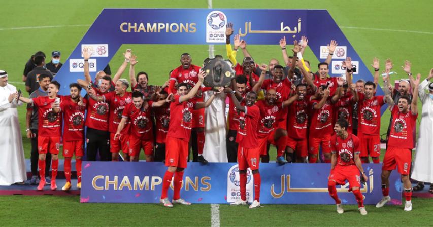 Al-Duhail celebrating the Qatar Stars League title.