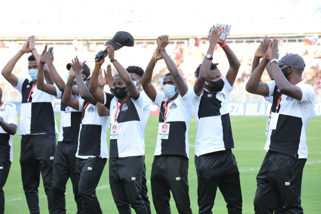 TP Mazembe players at their arrival at Benjamin Mkapa Stadium.