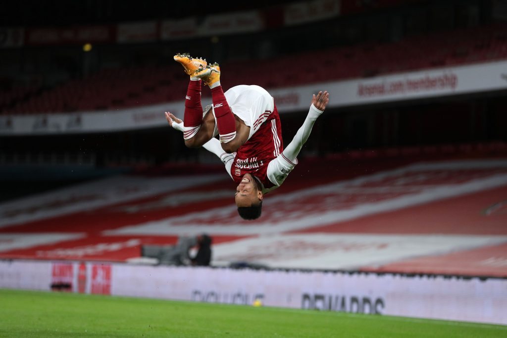 Aubameyang celebrating.