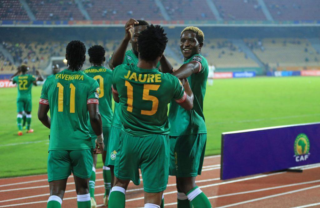 Zimbabwe celebrating Partson Jaure's equalizer.