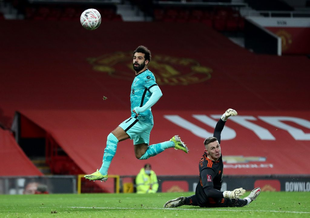 Mo Salah scoring against Man United.