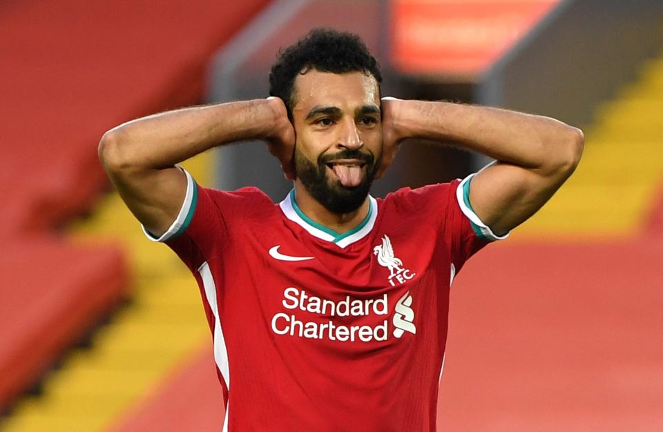 Mo Salah celebrating.