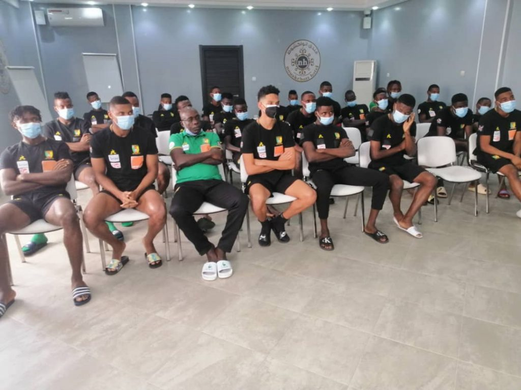 Young Indomitable Lions during technical meeting.