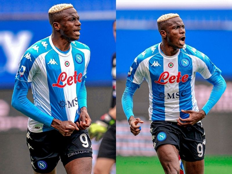 Victor Osimhen reacts after Napoli's victory over Sampdoria