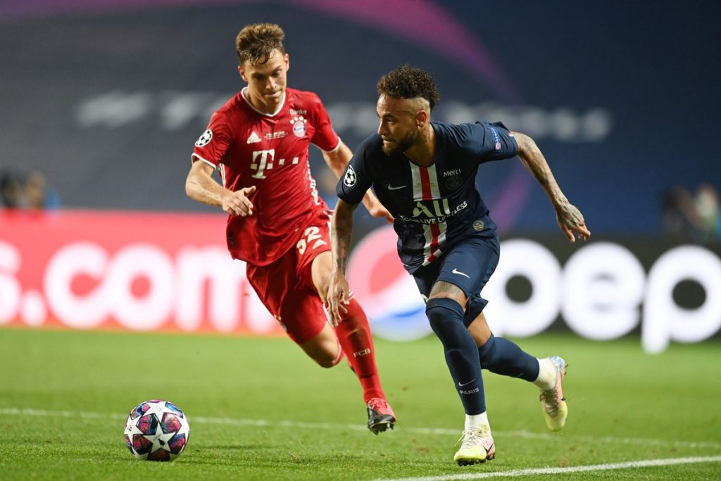 Neymar in action vs Joshua Kimmich.