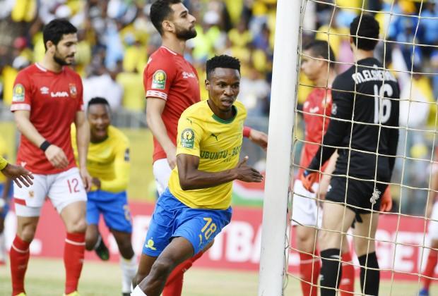 Themba Zwane celebrating his goal against Al Ahly in 2019.