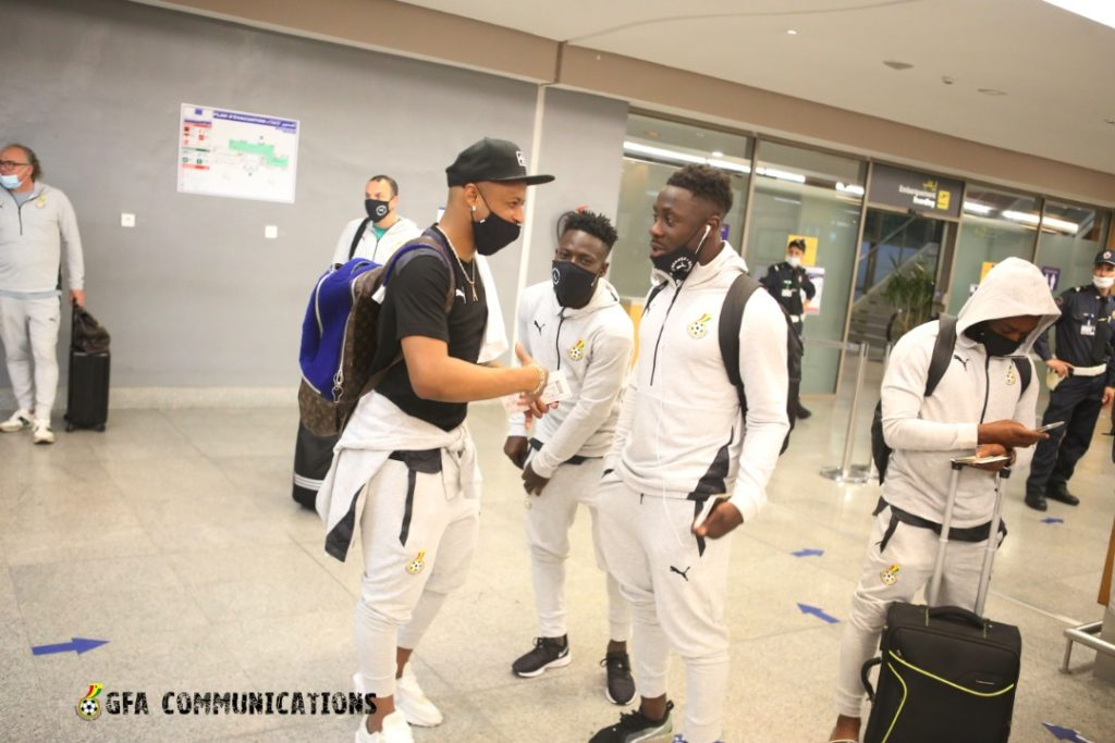 Andre Ayew and teammates at their arrival in Accra. ©GFA Communications