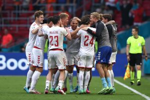 Denmark players celebrates their 4-0 victory against Wales in the Euro 2020-  Photo credit: Euro 2020