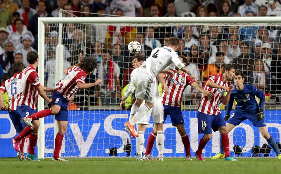 Sergio Ramos' header which gave the Decima to Real Madrid in 2014 UCL final against Atletico.