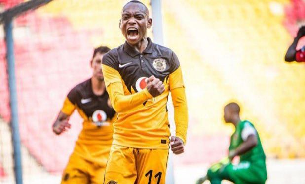 Khama Billiat celebrating a goal.