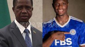 Zambia President Edgar Lungu congratulates Patson Daka on his Leicester move