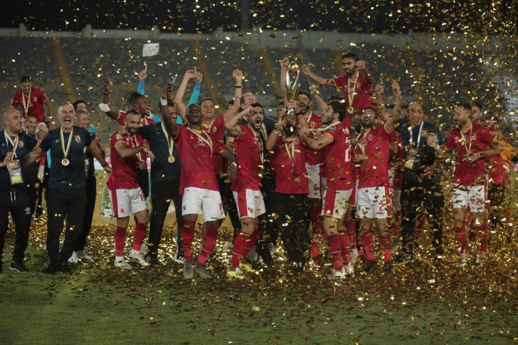 Mohamed Sherif and teammates celebrating CAF CL title.
