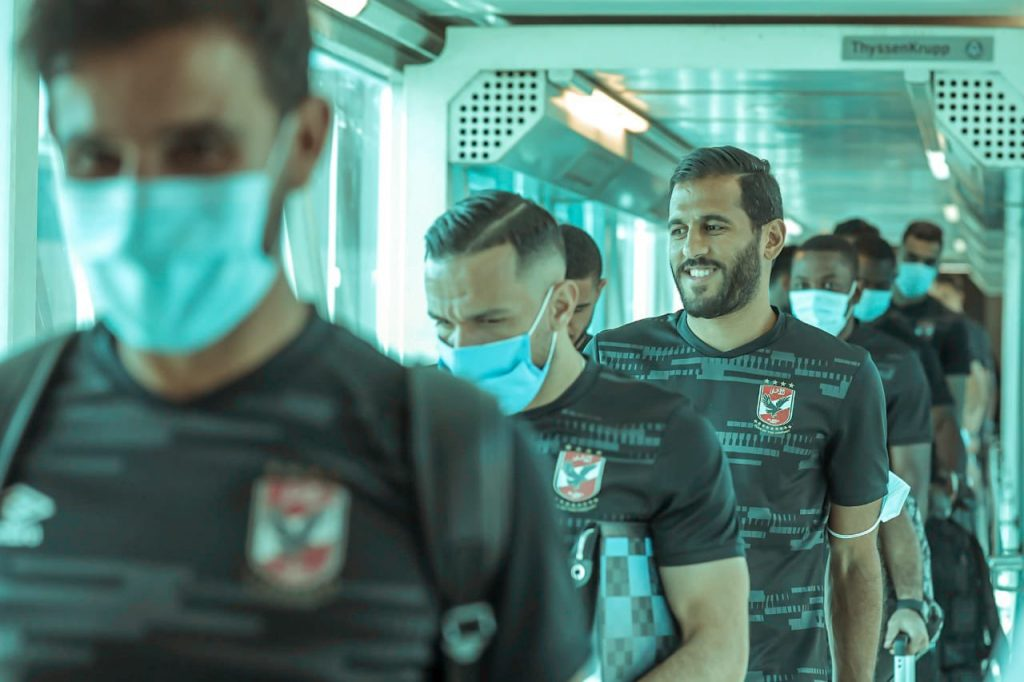 Al Ahly players at their arrival in Casablanca.