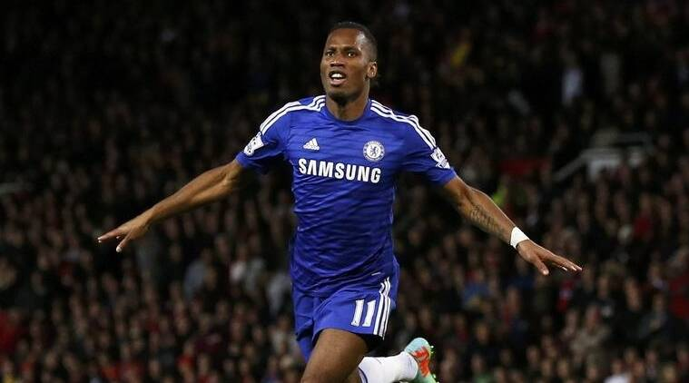 Didier Drogba performing his iconic eagle celebration.