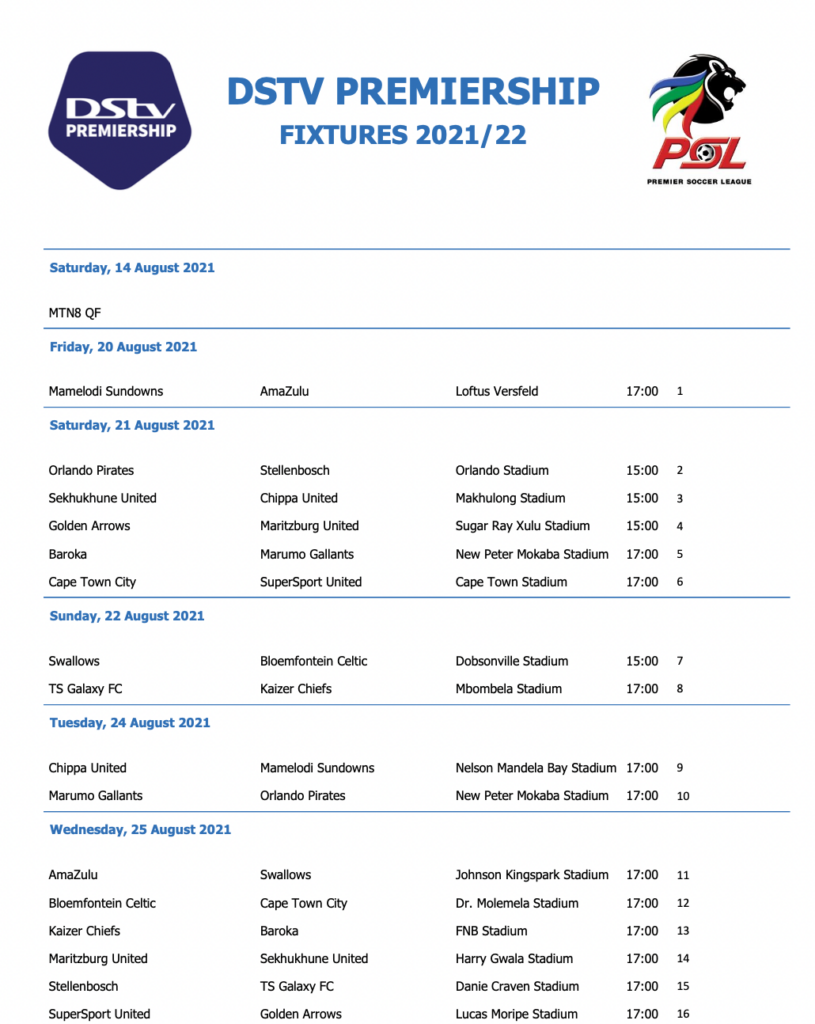 The leaked 2021/22 Dstv Premiership MD1 schedule.