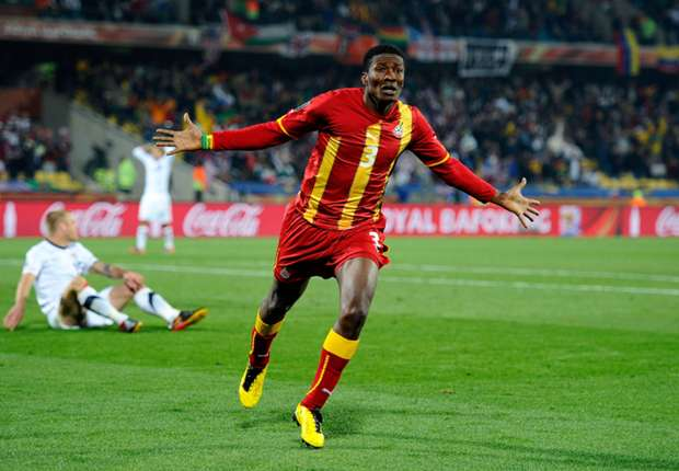 Asamoah Gyan celebrating a goal during 2010 World Cup in South Africa.