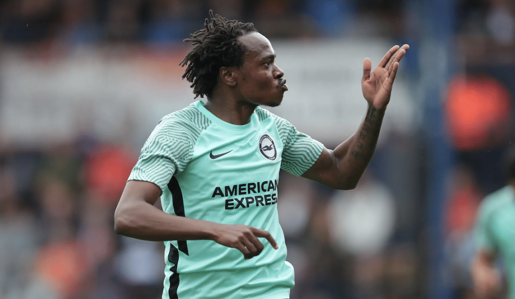 Percy Tau celebrating after netting his first ever Brighton goal.