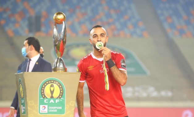 Mohamed Magdy Afsha with CAF Champions League's gold medal.