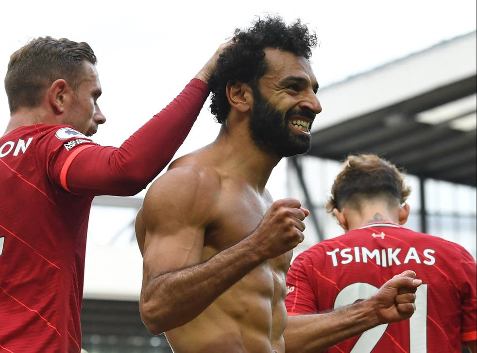 Mohamed Salah couldn't help taking off his shirt after scoring against Palace.