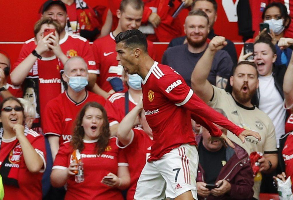 Cristiano Ronaldo celebrating a goal against Newcastle. ©Reuters
