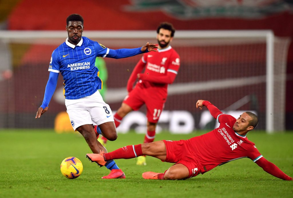 Yves Bissouma in action vs Liverpool.