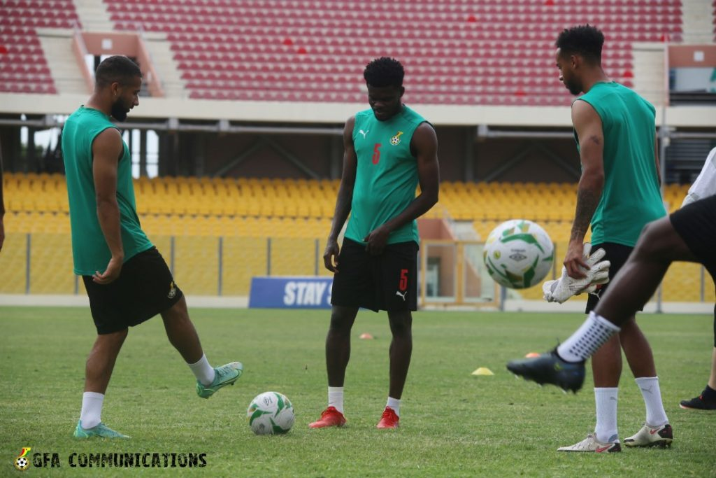 Thomas Partey and teammates preparing the return leg vs Zimbabwe.